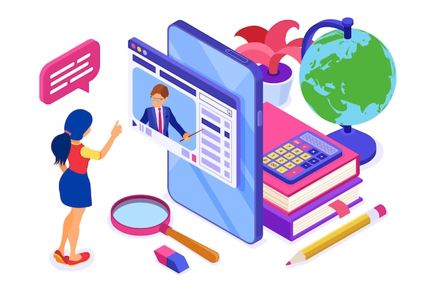 Online education or distance exam with isometric character internet course e-learning from home girl studying on smartphone with teacher isometric education
