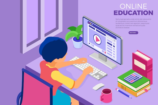 Online education or distance exam with isometric character. internet course and e-learning from home.