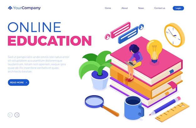 Online education or distance exam with isometric character