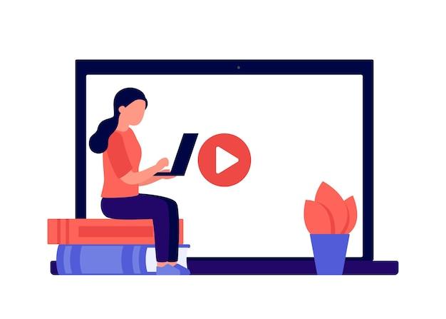 Онлайн-образование дистанционное обучение по книге и видео дома концепция студент женщина обучения ноутбуку