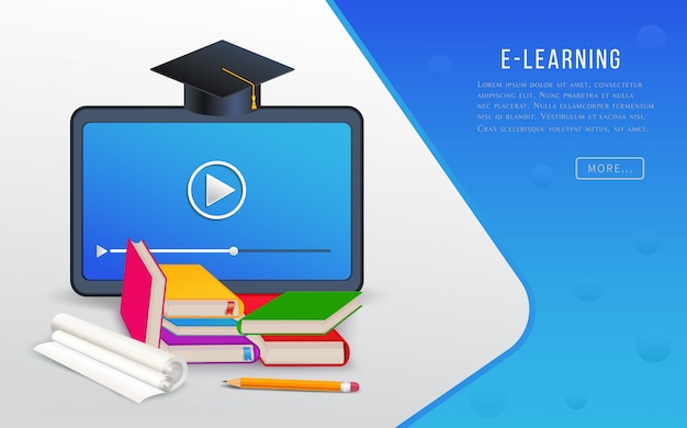 Online education, e-learning, college research, training courses with tablet, books, textbooks and graduation cap.