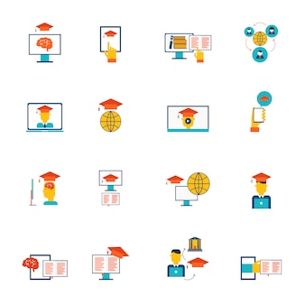 Online education e-learning distance training and graduation icons flat set isolated vector illustration