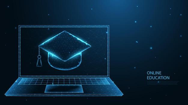 온라인 교육. 이러닝. 노트북 라인 연결이 있는 졸업 모자. 낮은 폴리 와이어 프레임 디자인. 추상적인 기하학적 배경입니다. 벡터 일러스트 레이 션.