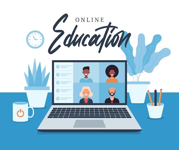 Онлайн-образование, электронное обучение, концепция онлайн-курса, иллюстрация домашней школы. студенты на экране портативного компьютера