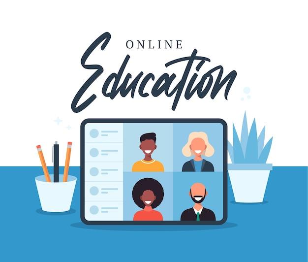 온라인 교육, 전자 학습, 온라인 과정 개념, 가정 학교 그림. 노트북 컴퓨터 화면에 학생