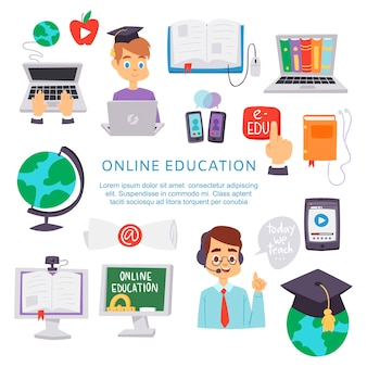 Online education, e-learning science illustration poster.
