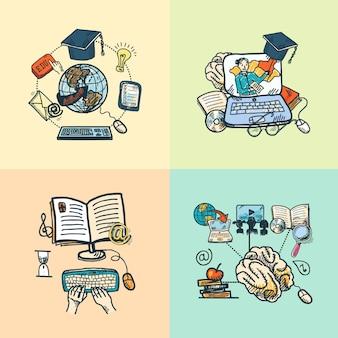 Educazione on-line scienza e-learning scienza schizzo icone isolato illustrazione vettoriale