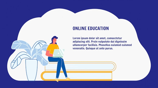 Online education, e-learning web banner layout