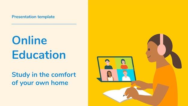 Редактируемый шаблон векторной презентации онлайн-образования