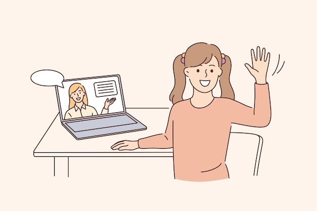 Online education and elearning concept. happy cute little kid girl sitting at laptop waving hand doing home school with computer laptop e-learning and course vector illustration