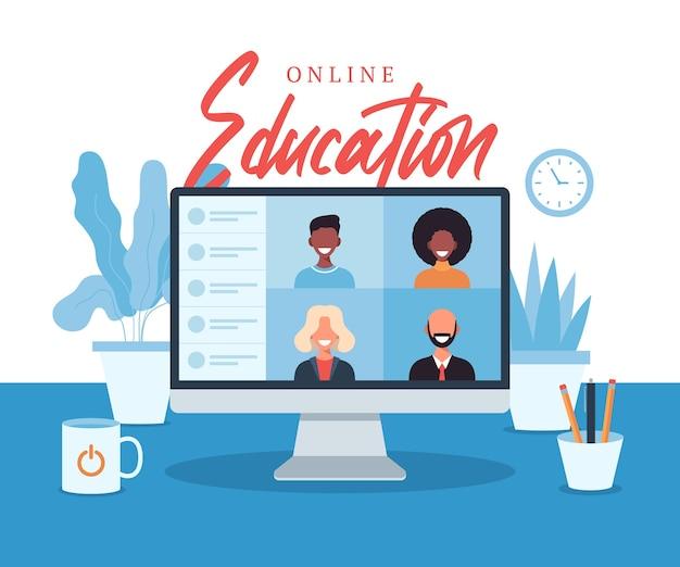 オンライン教育eラーニングオンラインコースコンセプトホームスクールイラスト