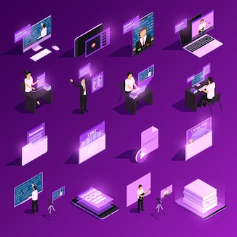 Коллекция онлайн образовательных элементов в фиолетовом цвете