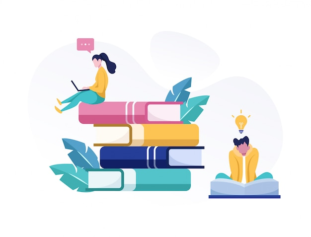 Online education and exam flat illustration