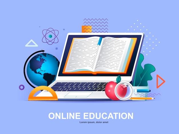 Плоская концепция онлайн-образования с шаблоном иллюстрации градиентов