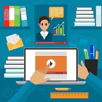 オンライン教育フラットクリエイティブコンセプトイラスト、講師開催ウェビナー、バインダー、本、ポスターやバナー用