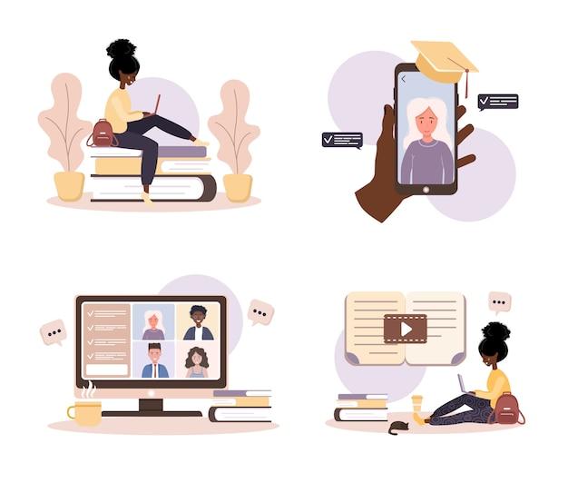 온라인 교육. 교육 및 비디오 자습서의 평면 설계 개념. 아프리카 학생 집에서 학습. 웹 사이트, 마케팅 자료, 프리젠 테이션 템플릿, 온라인 광고에 대한 그림.