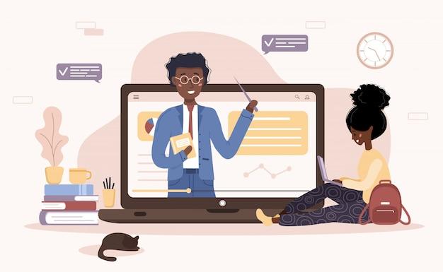 オンライン教育。トレーニングとビデオチュートリアルのフラットなデザインコンセプト。アフリカの学生が自宅で学習します。ウェブサイト、マーケティング資料、プレゼンテーションテンプレート、オンライン広告のベクトルイラスト。