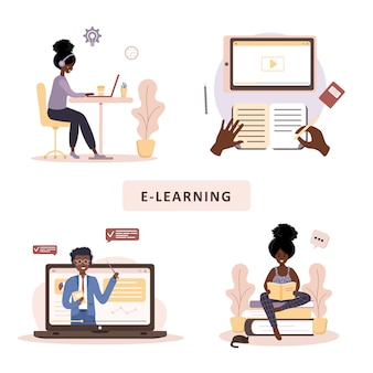 온라인 교육. 교육 및 비디오 자습서의 평면 설계 개념. 아프리카 학생 집에서 학습. 웹 사이트, 마케팅 자료, 프리젠 테이션 템플릿, 온라인 광고에 대 한 벡터 일러스트 레이 션.