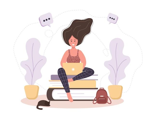Интернет образование. плоская концепция проекта обучения и видеоуроки. девушка сидит на книгах. иллюстрация для веб-сайта баннер, маркетинговые материалы, шаблон презентации, интернет-реклама.