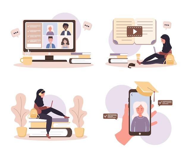 온라인 교육. 교육 및 비디오 자습서의 평면 설계 개념. 집에서 학습하는 학생. 웹 사이트 배너, 마케팅 자료, 프리젠 테이션 템플릿, 온라인 광고에 대 한 그림.