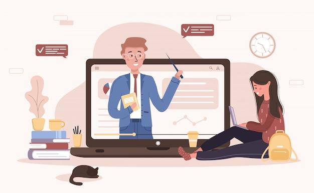Онлайн-образование. плоский дизайн-концепция обучения и видеоуроков. студент учится дома. иллюстрация для баннера сайта, маркетинговых материалов, шаблона презентации, интернет-рекламы.