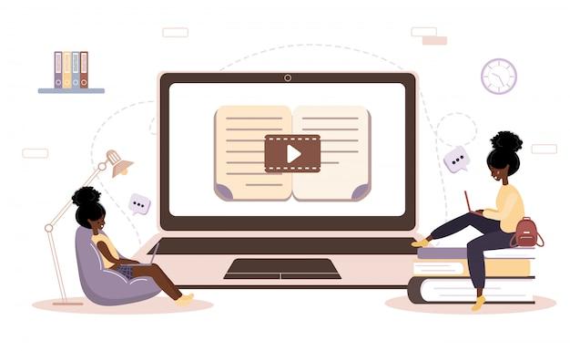 オンライン教育。トレーニングとビデオチュートリアルのフラットなデザインコンセプト。自宅で学ぶ学生。
