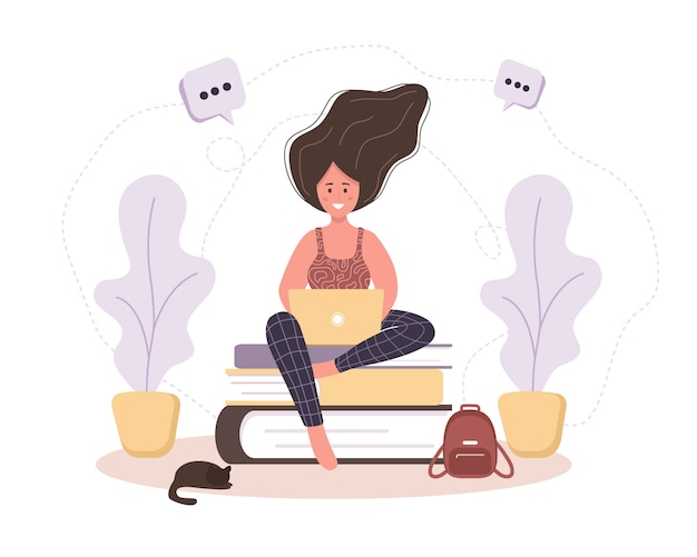 Online education. flat design concept of training and video tutorials. girl sitting on books. illustration for website banner, marketing material, presentation template, online advertising.