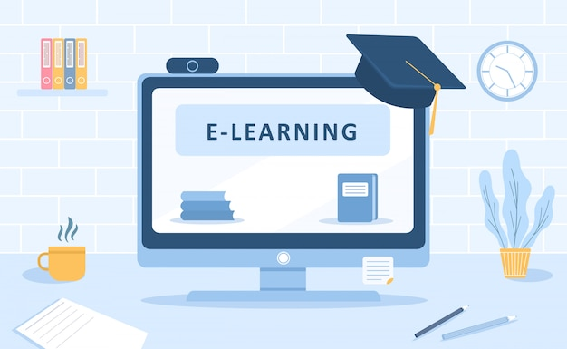 Online education. flat design concept of training and video tutorials. illustration for website banner, marketing material, presentation template, online advertising.