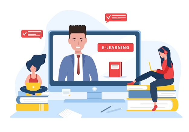 Online education. flat design concept of training and video tutorials. student learning at home. illustration for website banner, marketing material, presentation template, online advertising.