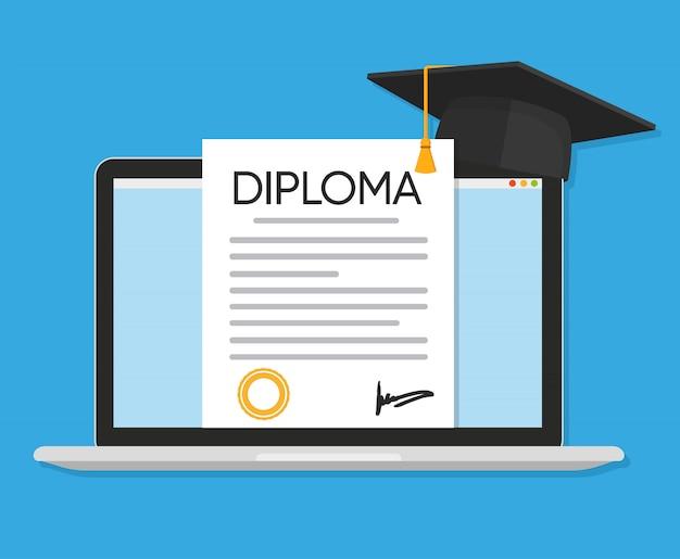オンライン教育フラット図コンセプト。卒業証書のベクトル図