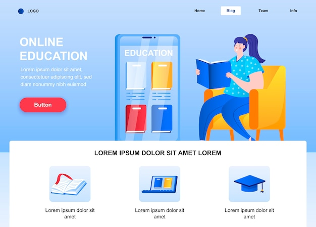 Online education flat landing page. woman reading book in armchair web page.