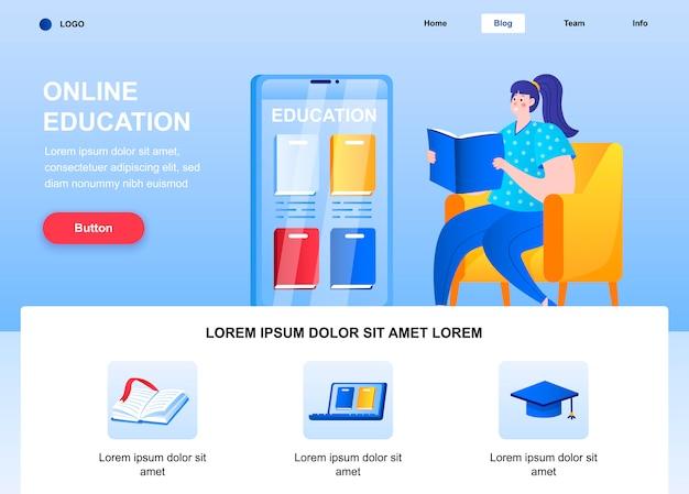 Плоская целевая страница онлайн-образования. женщина, читающая книгу на веб-странице кресла.