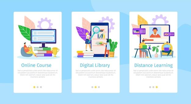 オンライン教育フラットモバイルウェブページセットイラスト