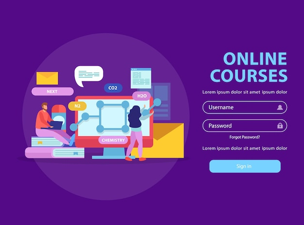 Online education flat website login page with sign in button fields for username and password