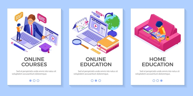 Online education from home or distance exam with isometric character