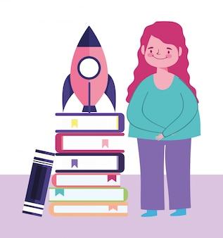 オンライン教育、ロケットの学生の成功のイラストが積み上げられた本の女子学生