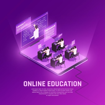 Online education glow isometric composition with view of hi tech anvironment with people computers and teacher