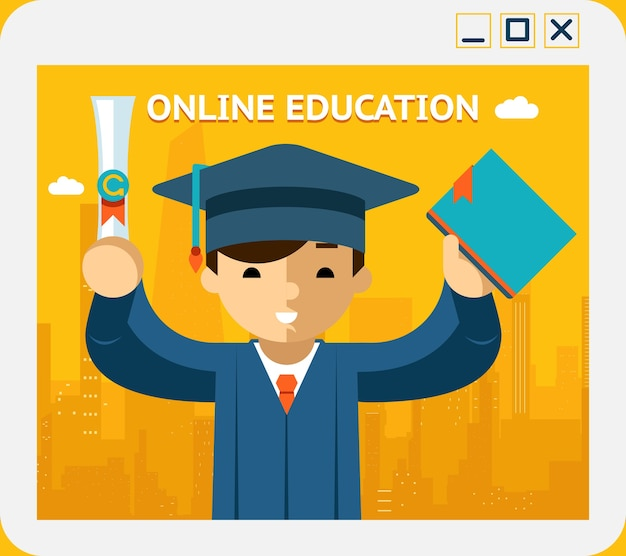 Online education. graduate in gown and hat in app window. knowledge and web, concept and e-learning, internet. vector illustration
