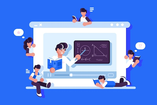 Online education and graduation illustration