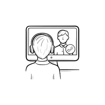 온라인 교육 손으로 그린 개요 낙서 아이콘입니다. 인쇄, 웹, 모바일, 인포그래픽을 위한 컴퓨터 벡터 스케치 삽화를 통해 의사소통하는 학생과 교수. 온라인 교육의 개념입니다.