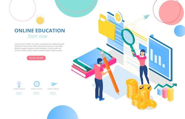 원격으로 공부하는 컴퓨터 도서 사람들과 텍스트를위한 공간이있는 온라인 교육 홈페이지 템플릿