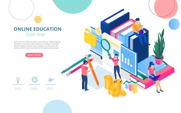 원격으로 공부하는 사람과 텍스트를위한 공간이있는 온라인 교육 홈페이지 템플릿