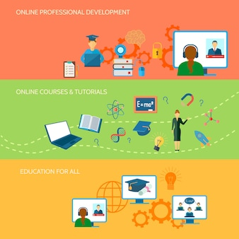 Online education horizontal banner set