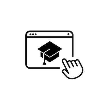 Online education icon. e learning online at home. distance school. vector on isolated white background. eps 10.