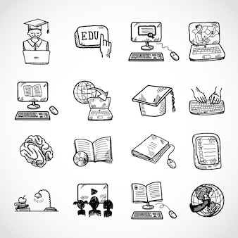 Online education icon sketch, doodle hand drawn style