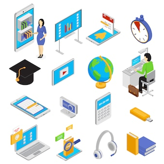 Online education icons set with knowledge symbols isometric isolated  illustration