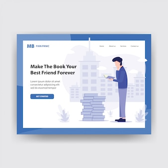 Online education illustration concept with book