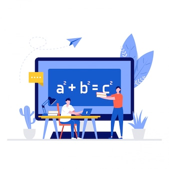 Online education  illustration concept with characters. student learning at home, sitting at desk, looking at the laptop, studying with exercise books, and teacher help him.