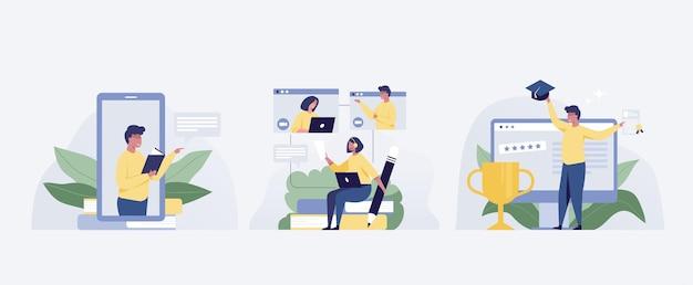 Иллюстрация онлайн-образования, учащиеся людей с учебными пособиями, набор курсов. иллюстрация