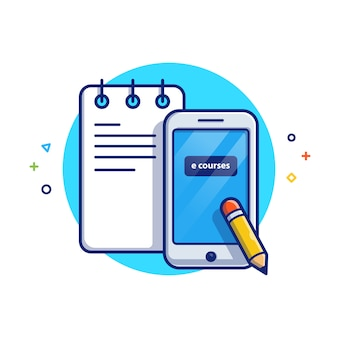 Online education illustration. notes and smartphone. education icon concept white isolated